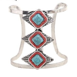 Turquoise and Red Fashion Cuff Bracelet